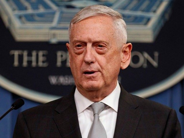 Defense Secretary Jim Mattis speaks at the Pentagon, Friday, April 13, 2018, on the U.S. military response, along with France and Britain, to Syria's chemical weapon attack on April 7.​ (AP Photo/Carolyn Kaster)