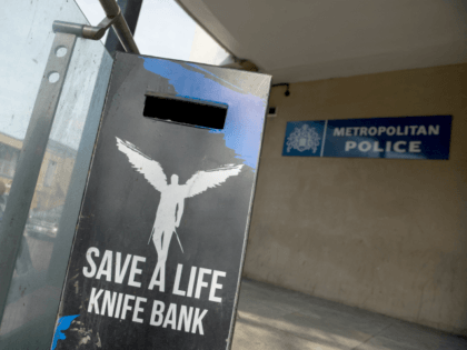 LONDON, ENGLAND - APRIL 07: A knife bank is seen outside Brixton police station, as extra police officers have been deployed after a recent rise in killings in the capital on April 7, 2018 in London, England. An additional 300 police officers have been deployed in the British capital following …