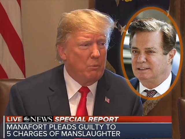 A lower-thirds graphic from ABC News erroneously says Paul Manafort has pleaded guilty to killing five people.