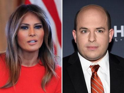 Melania Trump and CNN's Brian Stelter.