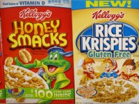 Kellogg's Honey Smacks and Rice Krispies cereals.