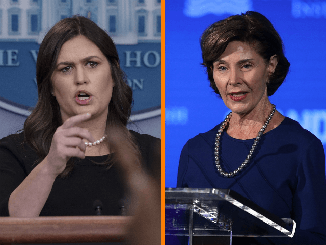 Press Secretary Sarah Sanders fired both barrels at former first lady Laura Bush during Monday's White House press briefing.