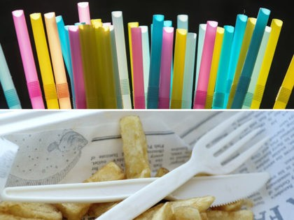 Plastic straws and a plastic fork and knife.