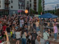 PORTLAND, CA - JUNE 19: A loud cheer comes out the moments of silence at the end of the vigil at OccupyICEPDX, just in front of the ICE Portland Headquarters in SW Maccadam on June 19, 2018, in Portland, OR. (Photo by Diego G Diaz/Icon Sportswire via Getty Images)