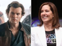 "Alden Ehrenreich as Han Solo in ""Solo: A Star Wars Story"" and Lucasfilm executive Kathleen Kennedy."
