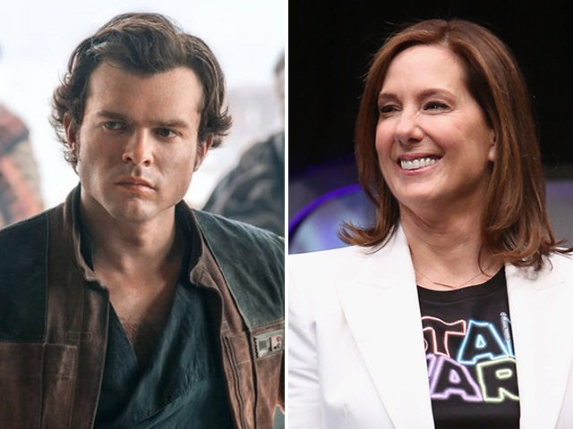 """Alden Ehrenreich as Han Solo in """"Solo: A Star Wars Story"""" and Lucasfilm executive Kathleen Kennedy."""