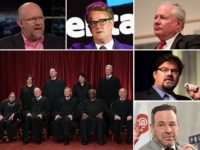 Never Trump pundits Rick Wilson, Joe Scarborough, Bill Kristol, Jonah Goldberg, and David Frum. Bottom left: the U.S. Supreme Court.