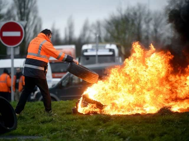 a tire fire in France