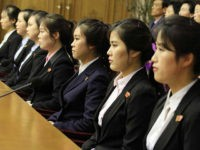 Colleagues of 12 North Korean waitresses are presented to the media in Pyongyang, North Korea, Tuesday, May 3, 2016. North Korea is stepping up its calls for South Korea to return 12 waitresses it says were tricked into going to the South. Seoul says the waitresses willingly defected. (AP Photo/Kim …