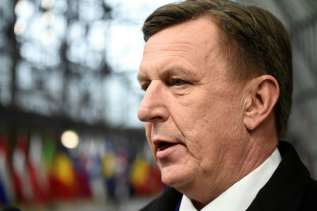 Latvia's Prime minister Maris Kucinskis arrives on the first day of a summit of European Union (EU) leaders at the EU headquarters in Brussels, on March 22, 2018
