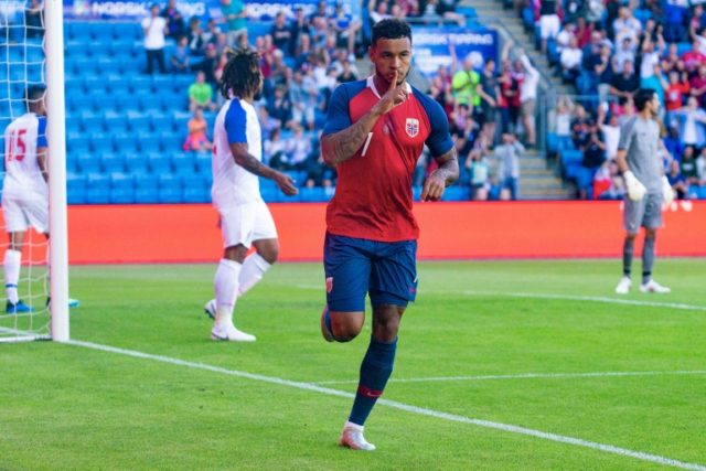 Norway's Joshua King reacts after scoring the 1-0 during their international friendly against Panama, in Oslo, on June 6, 2018