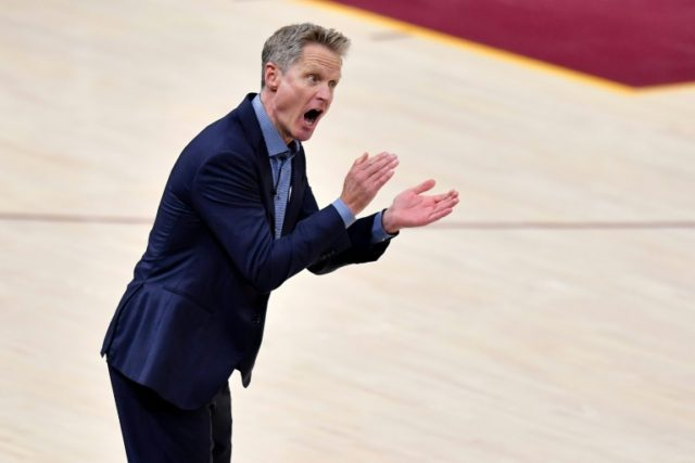 Head coach Steve Kerr of the Golden State Warriors follows action against the Cleveland Cavaliers in the first quarter during Game Three of the 2018 NBA Finals, at Quicken Loans Arena in Cleveland, Ohio, on June 6