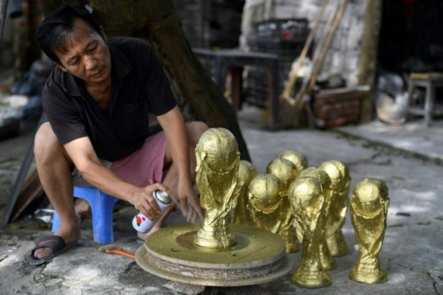 Vuong Hong Nhat has been making the trophy replicas since the 2010 World Cup in South Africa