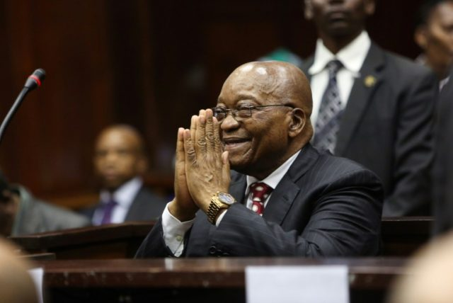 Former South African president Jacob Zuma, pictured in the dock in Durban on Friday. He faces 16 charges of corruption that date to before his time as president