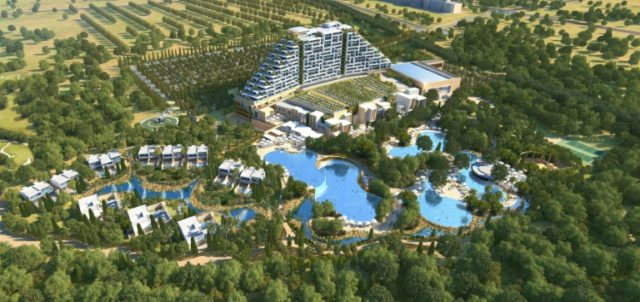 """This handout illustration released by Melco PR shows the """"City of Dreams Mediterranean"""" casino complex to be built by 2021 in the southern Cypriot town of Limassol"""