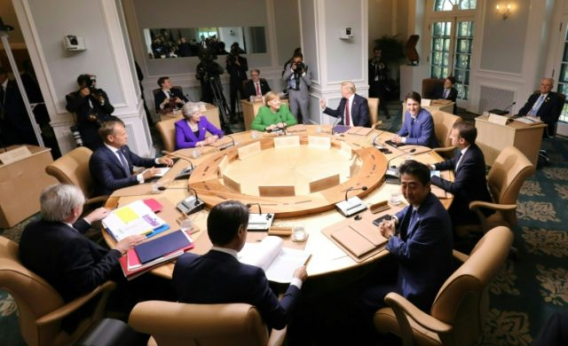 Leaders of the G7 participate in a working session of the G7 Summit in La Malbaie, Quebec, Canada, June 8, 2018; US President Donald Trump has shown skepticism and downright hostility toward multilateral institutions