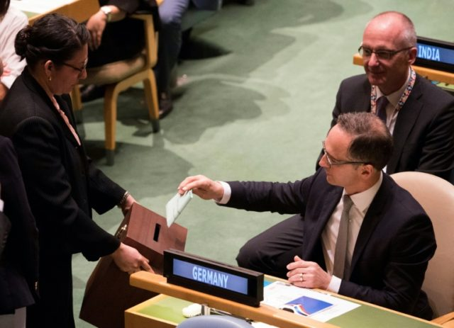 German Foreign Minister Heiko Maas votes during a General Assembly meeting to elect the five non-permanent members of the Security Council at the United Nations in New York on June 8, 2018