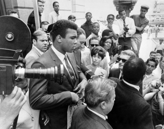 American boxer Muhammad Ali speaking to reporters after announcing he refused military service during the Vietnam War, April 29, 1967