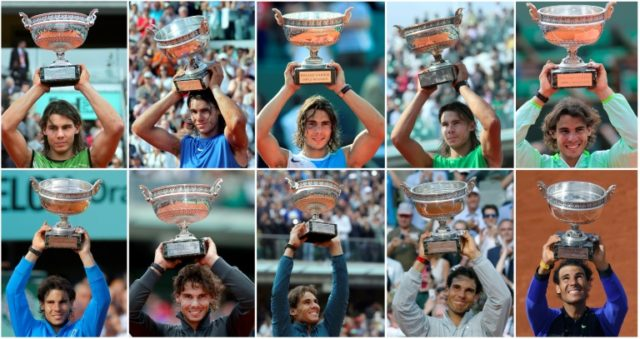 Ten of the best: Rafael Nadal with the Coupe des Mousquetaires he won in 2005, 2006, 2007, 2008, 2010, 2011, 2012, 2013, 2014 and 2017