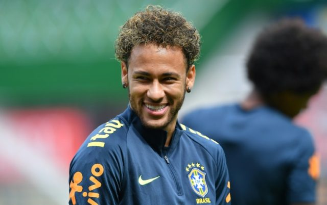 Brazil striker Neymar in good spirits in training on Saturday for Brazil's final World Cup warm-up