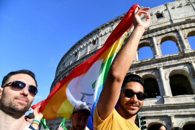 The Gay Pride Parade in Rome passed the Coliseum
