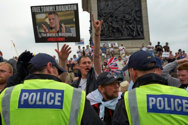 Supporters of jailed far-right figure Tommy Robinson demonstrate in Trafalgar square
