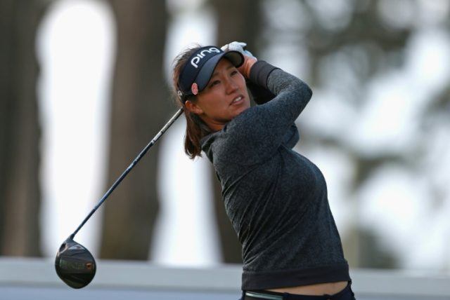 Annie Park, pictured in April 2018, carded an eight-under-par 63 to claim victory in the ShopRite LPGA Classic by one shot