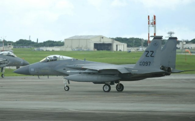 A US Air Force F-15 fighter jet, seen at Kadena air force base in Okinawa