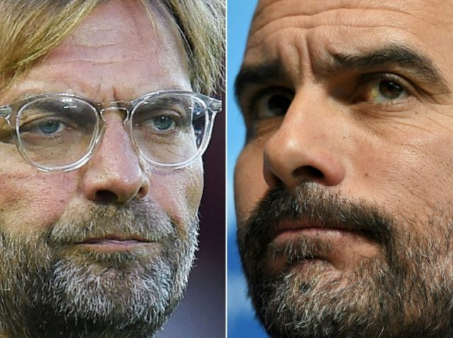 Liverpool manager Jurgen Klopp (left) and Manchester City boss Pep Guardiola