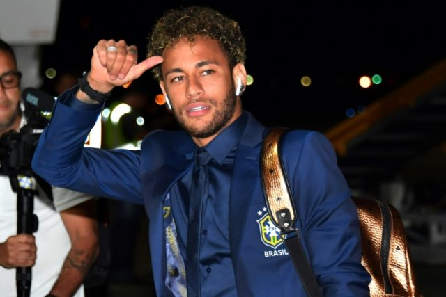 Neymar arrives at Sochi airport, in Russia