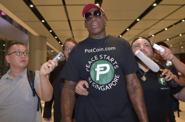 Retired basketballer Dennis Rodman flew into Singapore late Monday ahead of the Trump Kim summit