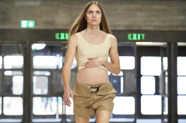 Chinese designer Xander Zhou's new collection featured a fake 'baby bump' for men