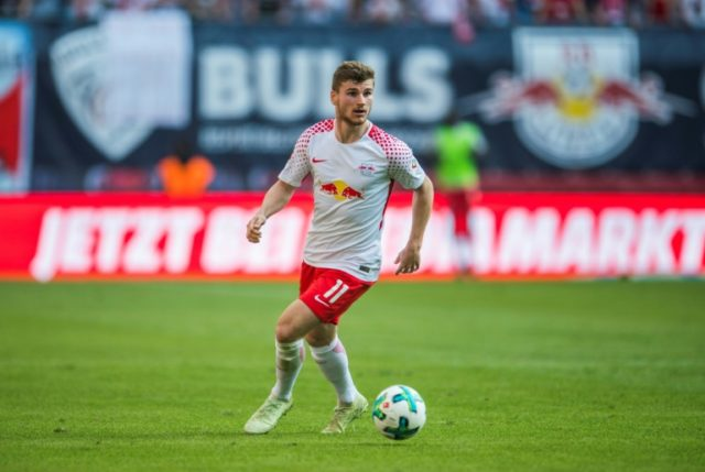 Timo Werner, pictured in April 2018, hit 21 goals for Leipzig last season