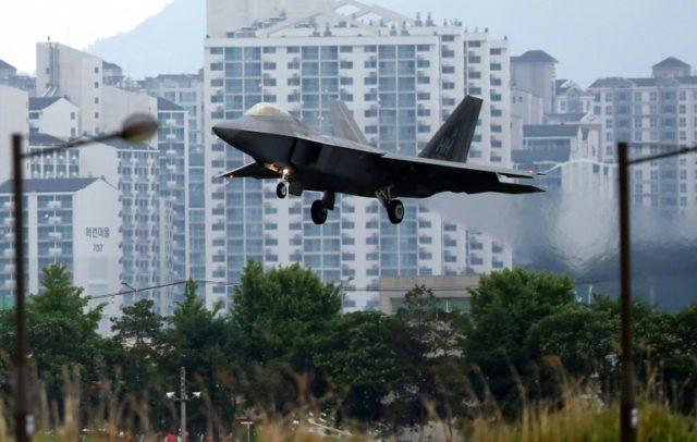A US Air Force F-22 Raptor lands at Gwangju Air Base in South Korea during the Max Thunder drills in May