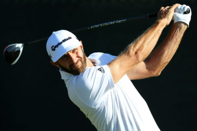 Dustin Johnson of the United States plays his shot from the fourth tee during a practice round prior to the 2018 US Open