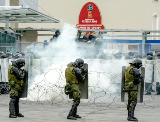 Russian riot police take part in exercises in Saint Petersburg