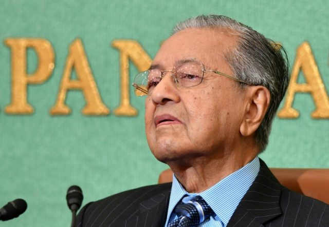 Malaysian Prime Minister Mahathir Mohamad at the press conference