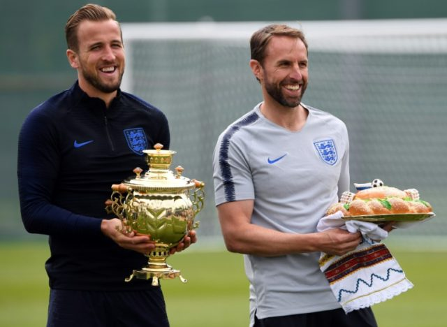 England coach Gareth Southgate (right) with captain Harry Kane