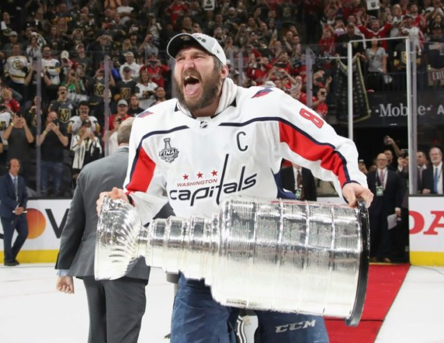 Washington Capitals captain Alex Ovechkin celebrates after winning the Stanley Cup