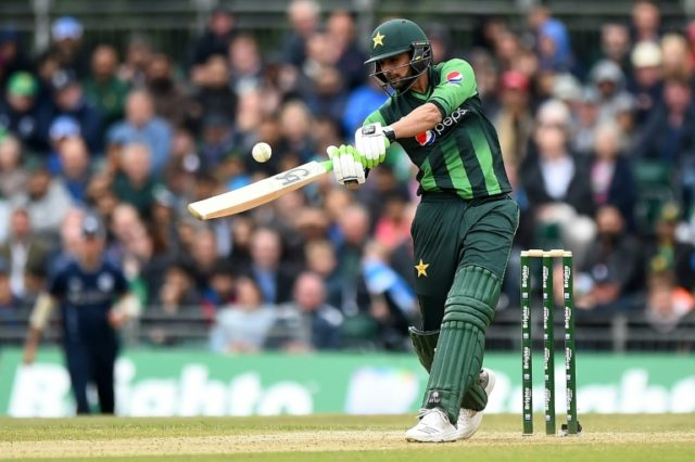 Take that: Pakistan's Shoaib Malik on his way to 49 on Wednesday