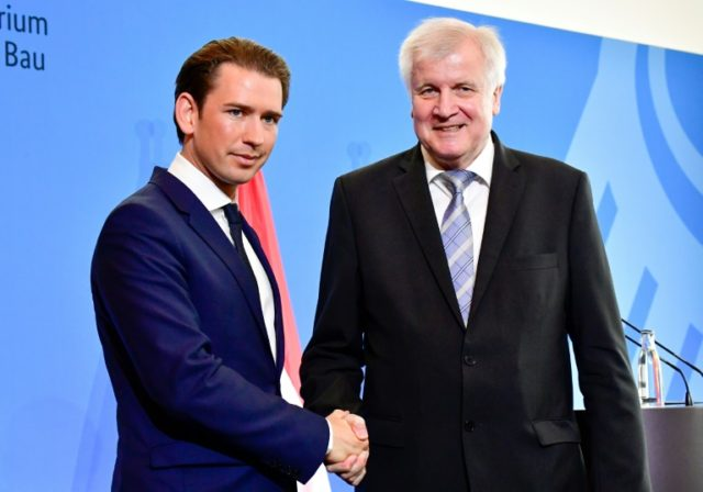 """Austrian Chancellor Sebastian Kurz (left) meets German Interior Minister Horst Seehofer, hailing an """"axis of the willing"""" along with Italy determined to take a hardline on migration"""