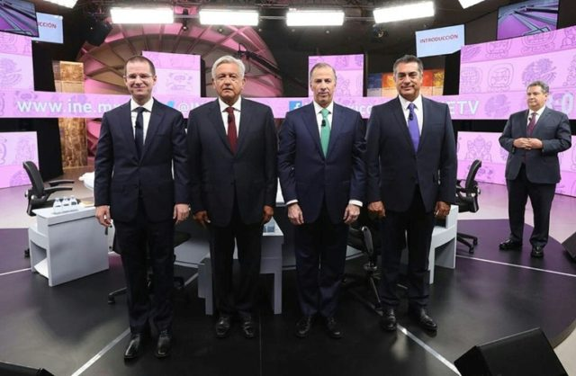 This picture provided by the National Electoral Institute shows presidential candidates (left to right) Ricardo Anaya, Andres Manuel Lopez Obrador, Jose Antonio Meade and Jaime Rodriguez