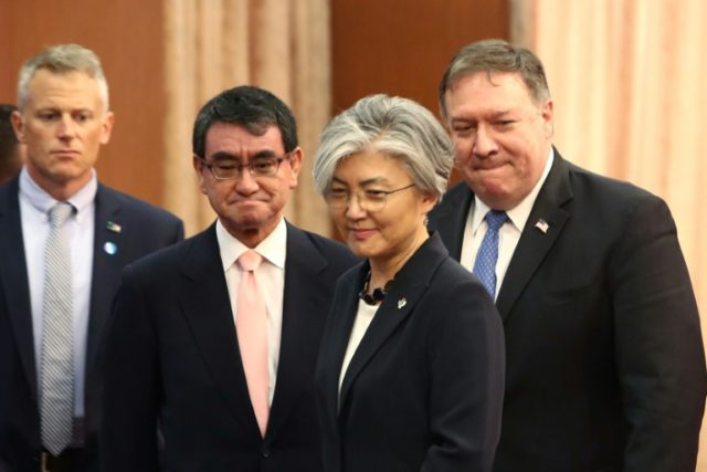 US Secretary of State Mike Pompeo is in Seoul for talks with South Korean Foreign Minister Kang Kyung-wha (front) and Japanese counterpart Taro Kono