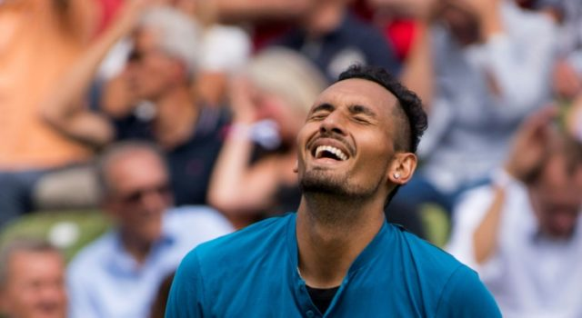 "Australia's Nick Kyrgios reacts after a point against Maximilian Marterer as he toughed out a three-set win in what he called ""a terrible match"""