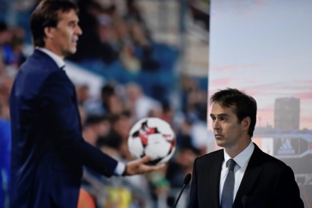 New man in charge: Julen Lopetegui gives a speech during his official presentation by Real Madrid on Thursday