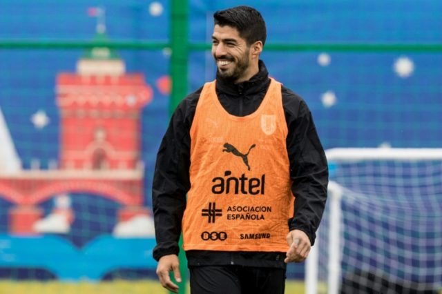 Uruguay forward Luis Suarez trains in Russia
