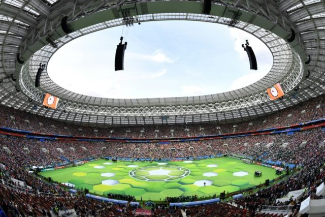 Rainbow flag on display during Putin's World Cup speech