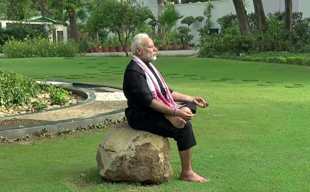 Indian Prime Minister Narendra Modi, 67, released a two minute exercise video clip shot in the lush garden of his New Delhi residence