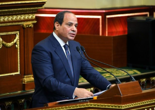 A handout picture released by the Egyptian Presidency on June 2, 2018 shows President Abdel Fattah al-Sisi giving a speech during his swearing in ceremony for a second four-year term in office, at the parliament in Cairo