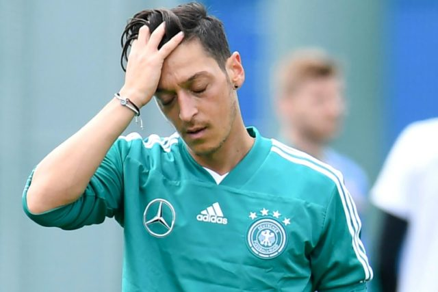 Germany's midfielder Mesut Ozil reacts during a training session in Vatutinki, near Moscow, on June 13, 2018, ahead of the Russia 2018 World Cup football tournament.